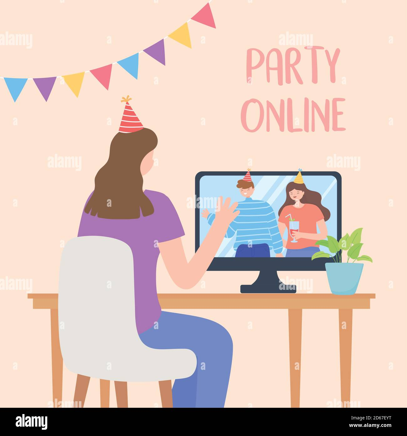 online party, girl connected with friends celebraton by internet vector illustration Stock Vector