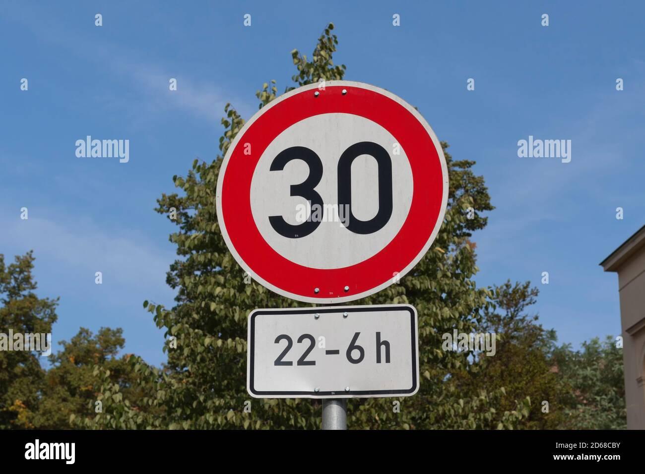 Speed 30, street sign in Berlin Stock Photo