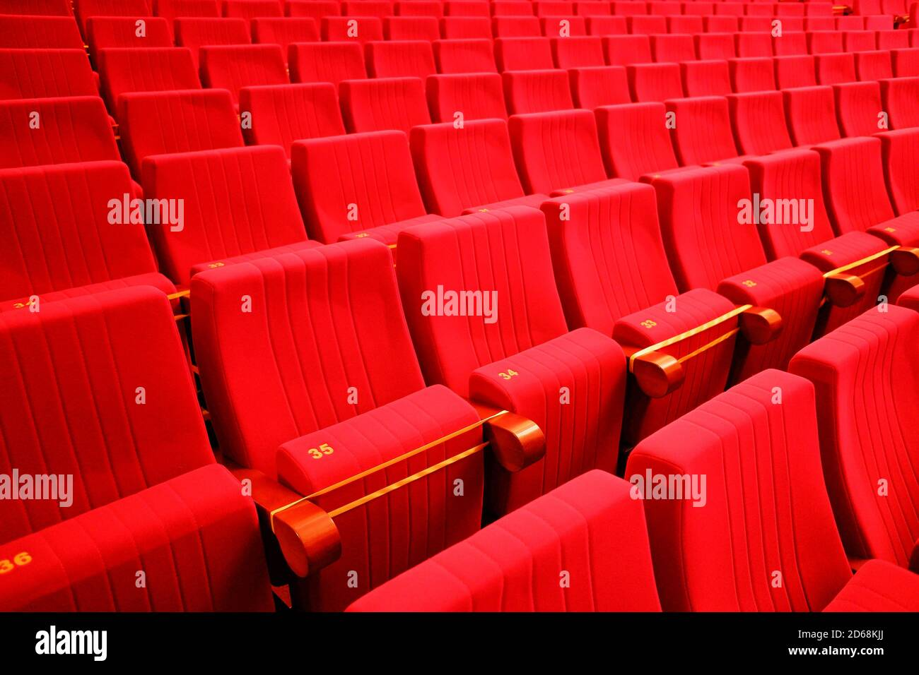 seats in the theater. Social distance between spectators in the hall Stock Photo