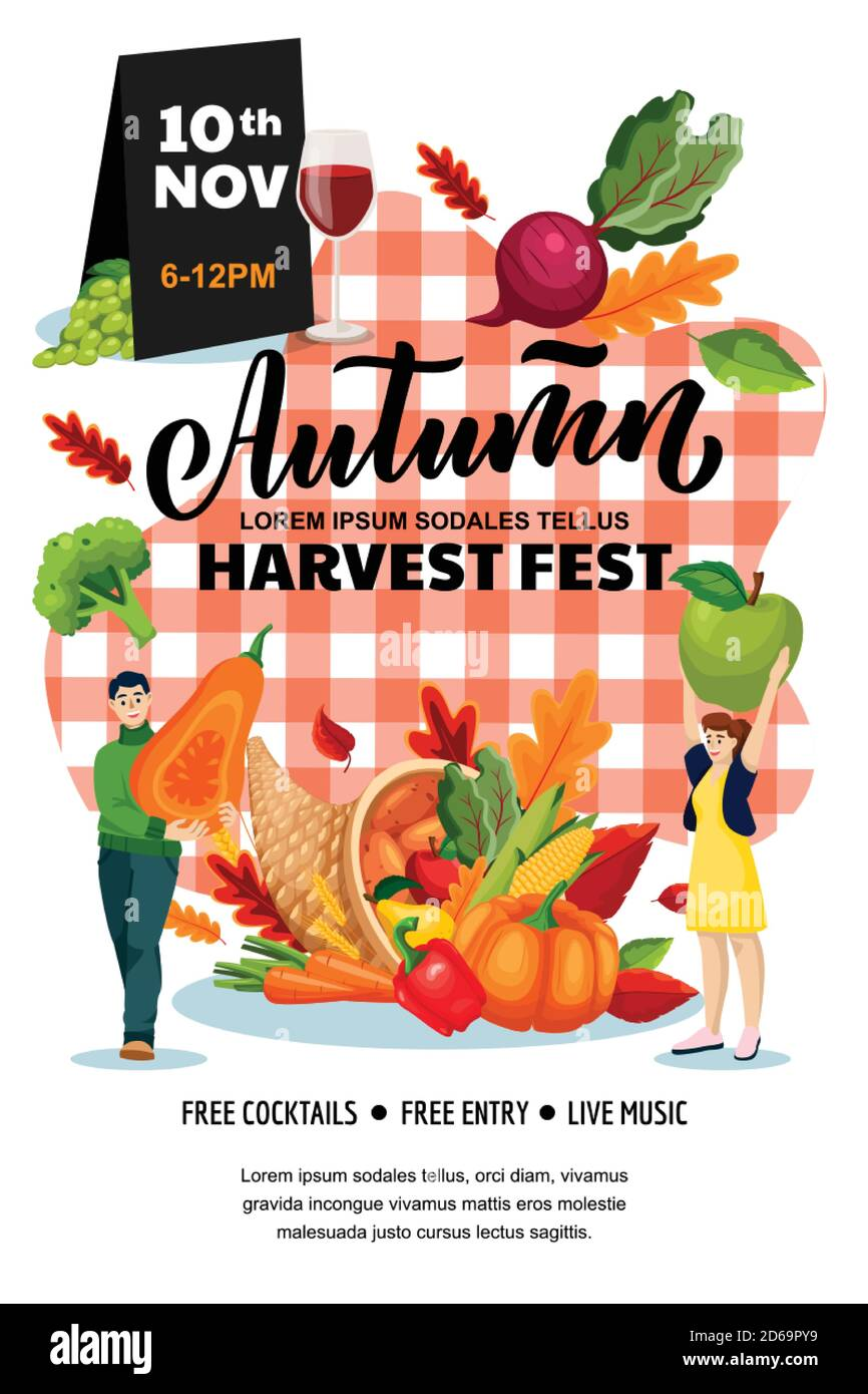 Autumn harvest festival poster, banner design layout. Fall fair or city picnic concept. Vector flat cartoon illustration. Cornucopia and people with p Stock Vector