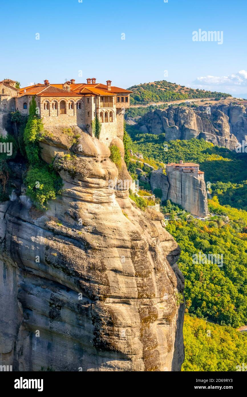 Greece. Summer sunny day in Meteora. Two monasteries on high cliffs. Stock Photo