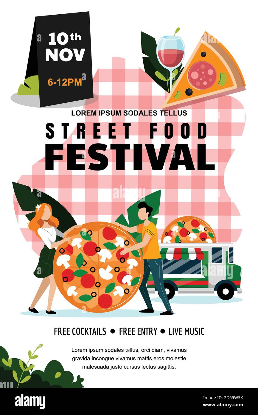 Street food outdoor festival poster or banner design template. Vector flat cartoon illustration. Italian food truck and young couple with large pizza Stock Vector