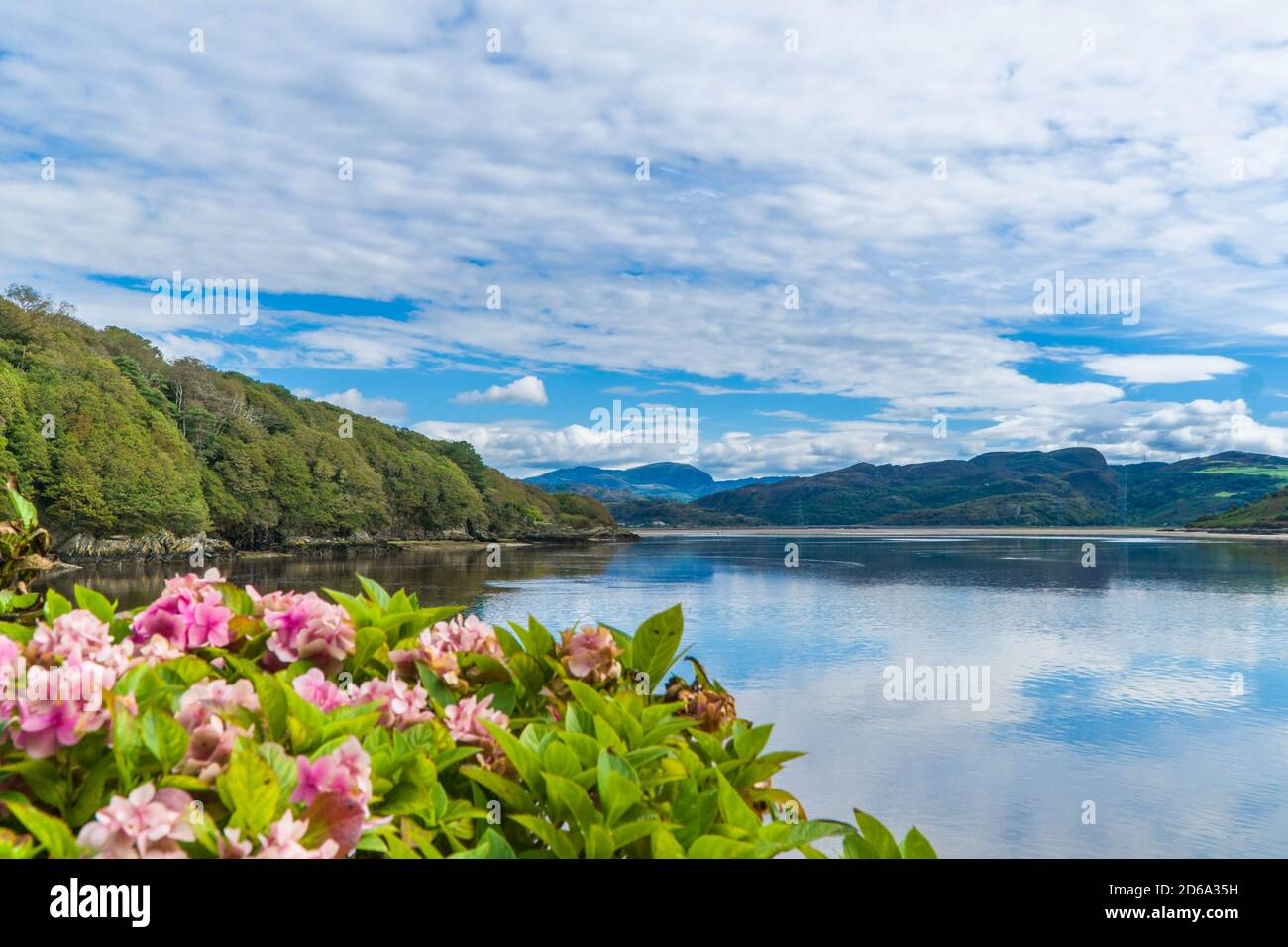 North westerly view along the River Dwyryd from Portmeirion towards Snowdonia National Park north Wales UK. August 2020. Stock Photo