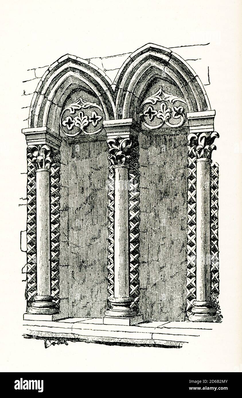 """This  illustration of a window in Oakham Castle is from John Ruskin's essay """"the Seven Lamps of Architecture,"""" published in 1849. The Norman great hall ofOakham Castleis one of the finest surviving example of domestic Norman architecture in Europe. John Ruskin was the leading English art critic of the Victorian era, as well as an art patron, draughtsman, watercolourist, philosopher, prominent social thinker and philanthropist. He wrote on subjects as varied as geology, architecture, myth, ornithology, literature, education, botany and political economy. The 'lamps' of the title are Ruskin's Stock Photo"""