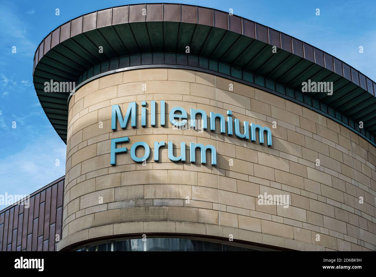 Derry, Northern Ireland- Sept 27, 2020: The Sign for Millennium Forum  in Derry. Stock Photo