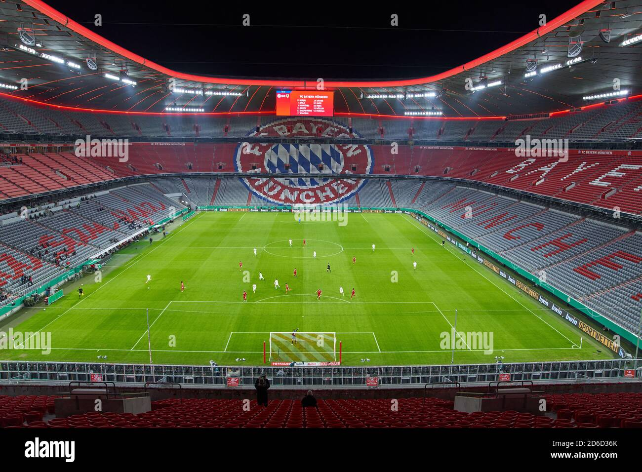 Allianz Arena inside with tribunes and pitch FC BAYERN MUENCHEN - 1.FC DUEREN 3-0 DFB-Pokal erste Runde, German Football Trophy , Munich, October 15, 2020  Season 2020/2021,  Soccer, München, Munich © Peter Schatz / Alamy Live News Stock Photo