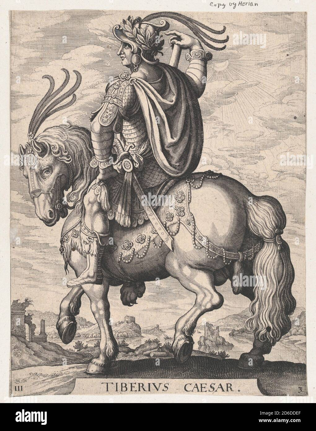 Plate 3: Emperor Tiberius on Horseback, from 'The First Twelve Roman Caesars', after Tempesta, 1610-50. Stock Photo