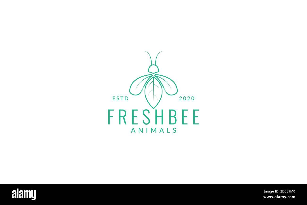 honey bee line with leaf minimalist logo vector illustration design Stock Vector