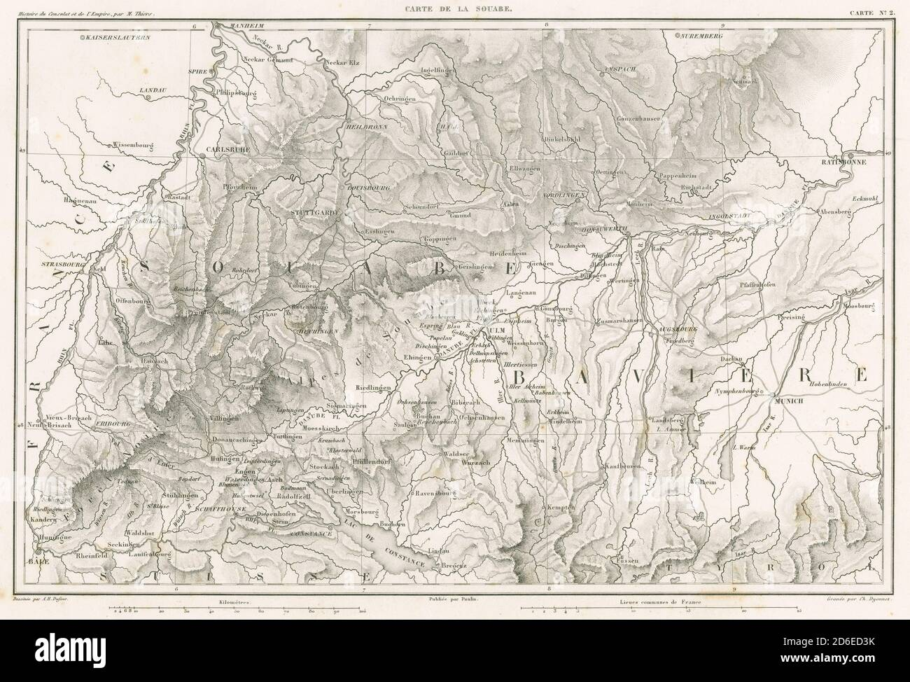 Antique 1859 Engraved French Map Carte De La Souabe The Souabe In German Schwaben Is A Historical Region In The Southwest Of Germany Source Original Engraving Stock Photo Alamy