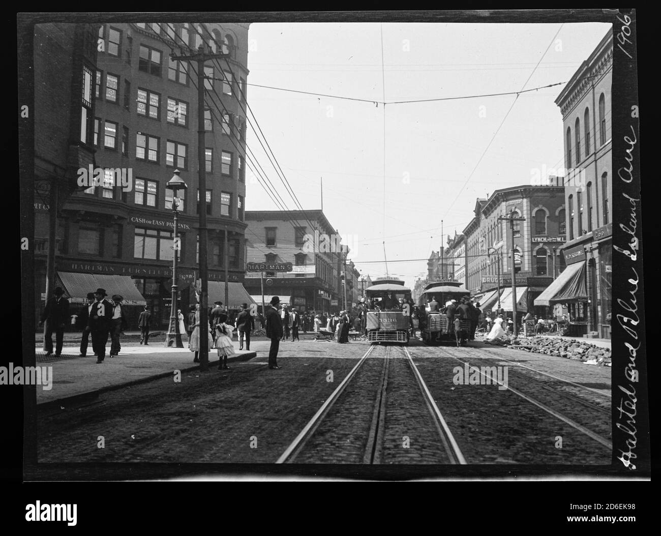 Illinois Bridge Chicago Streetcar on Halsted Old Photo