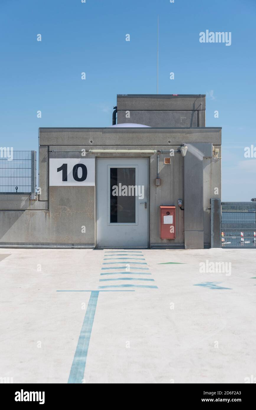 Germany, Mecklenburg-Western Pomerania, Stralsund, roof of a parking garage, exit to the elevator Stock Photo