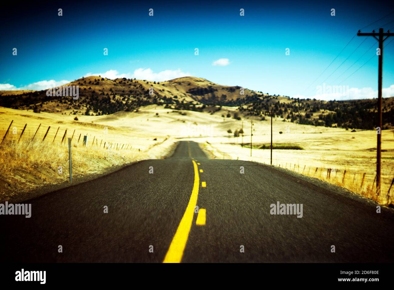 Rural Two-Lane Highway Stock Photo