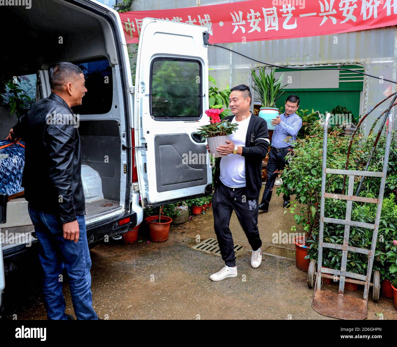 (201017) -- CHANGXING, Oct. 17, 2020 (Xinhua) -- Customers transfer newly-purchased flowers and seedlings onto a vehicle during the Changxing flower and tree fair in Sian Town of Changxing County, east China's Zhejiang Province, Oct. 16, 2020.  The Changxing flower and tree fair, exhibiting more than 1,000 species of flowers and trees, kicked off in Sian Town of Changxing on Friday. With the planting area of flowers and trees reaching 283,000 mu (about 18,867 hectares), the flower and tree business in Changxing has achieved a sales volume of nearly two billion yuan (about 298.6 million U.S. do Stock Photo
