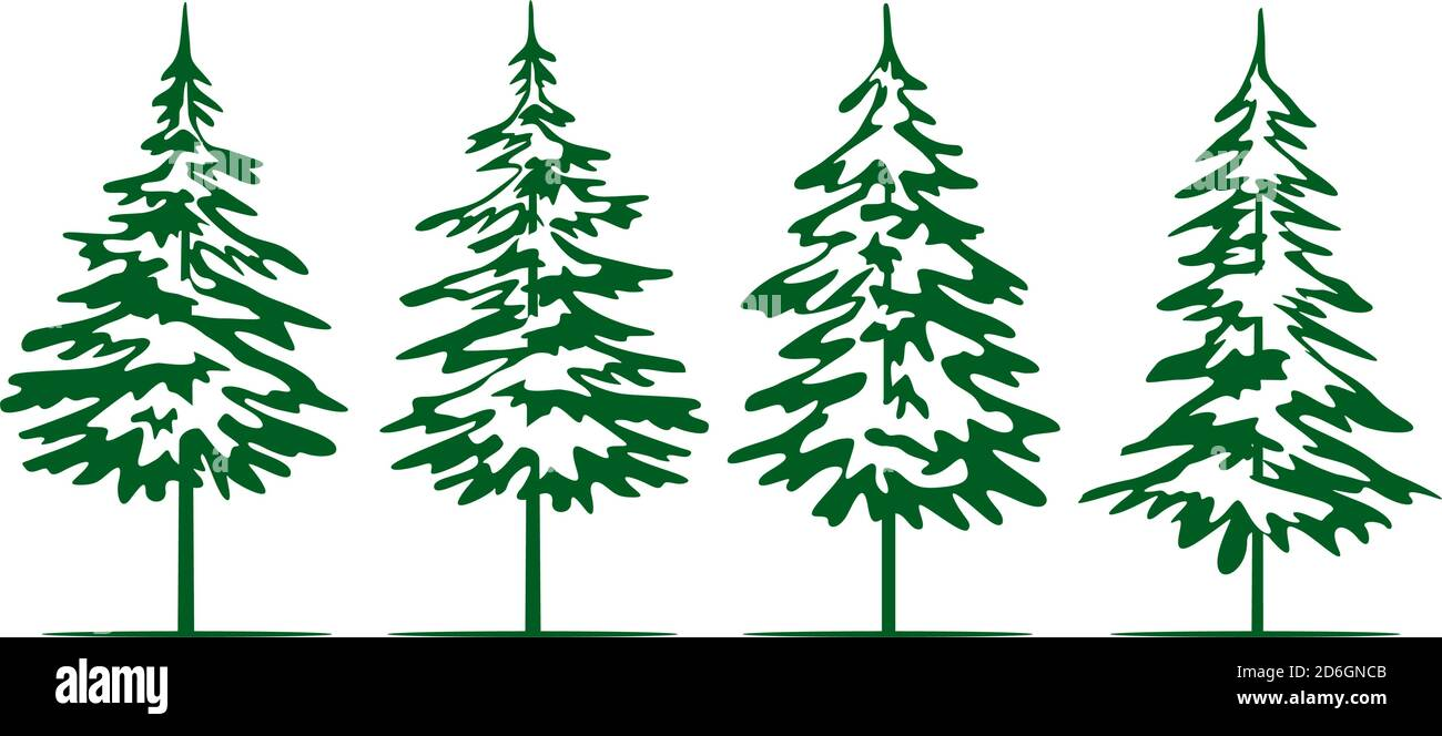 A set of green Christmas Trees. Winter season design elements and simply pictogram collection. Isolated vector xmas Icons and Illustration. Stock Vector