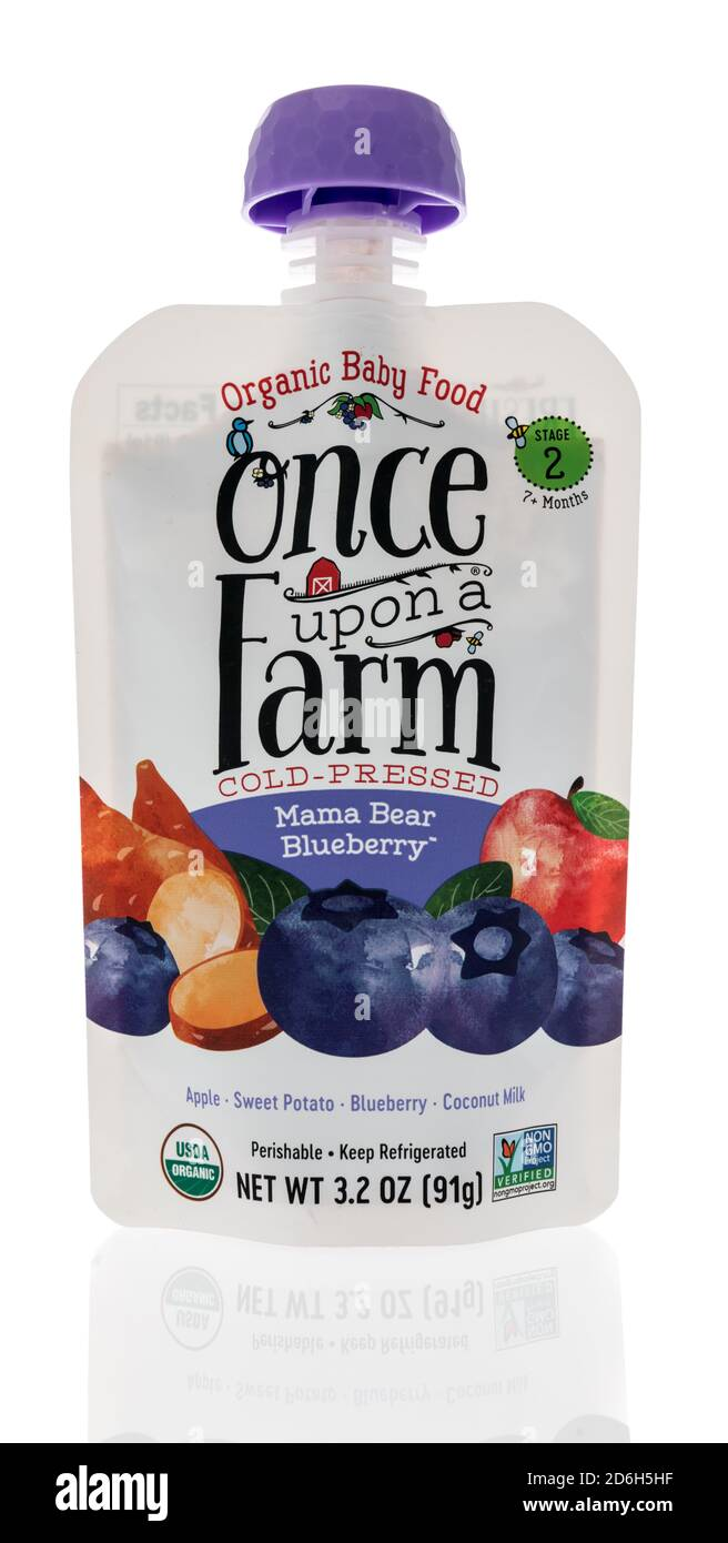 Winneconne, WI - 16 October 2020:  A package of Once upon a farm cold pressed mama bear blueberry organic baby food on an isolated background. Stock Photo