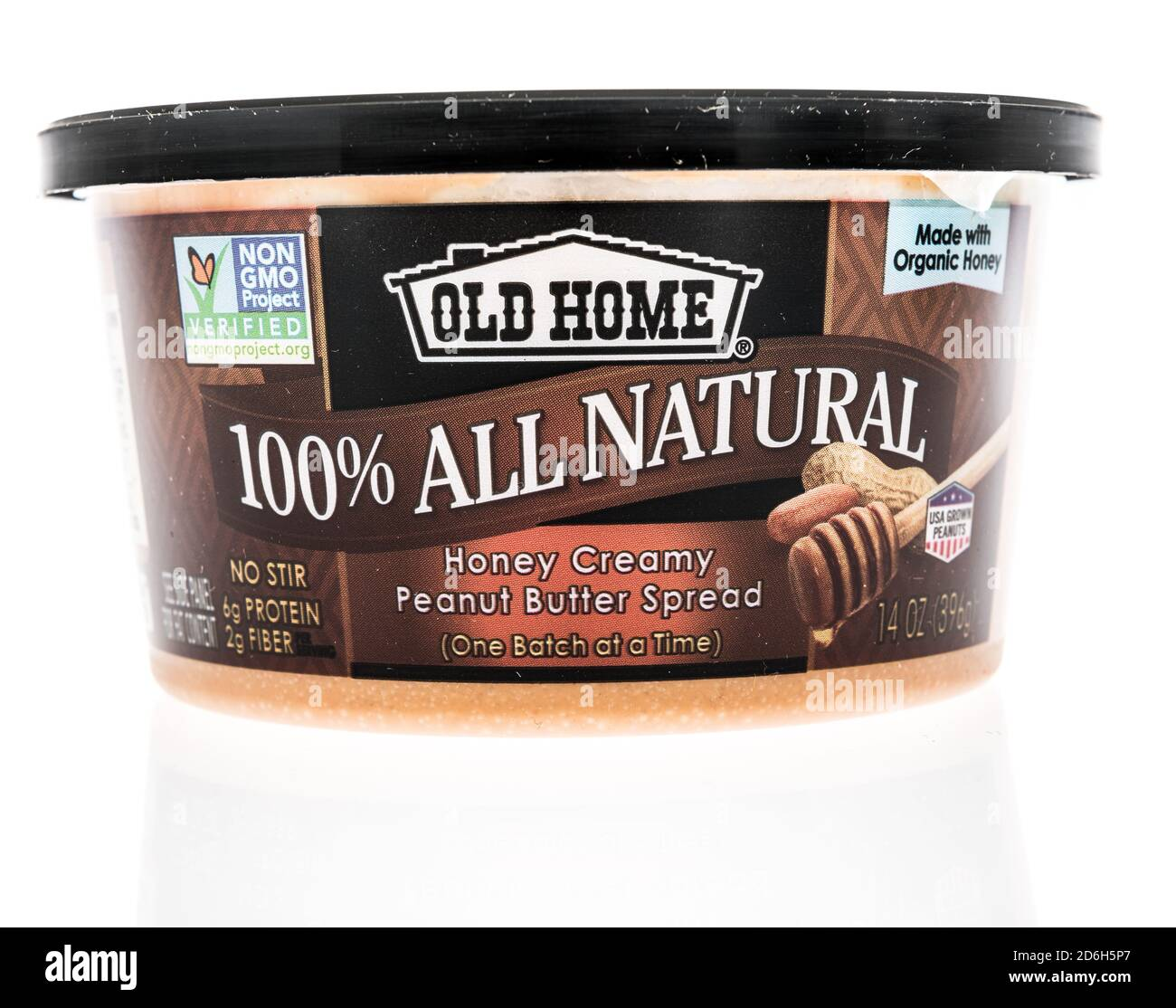 Winneconne, WI - 16 October 2020:  A package of Old Home honey creamy peanut butter on an isolated background. Stock Photo