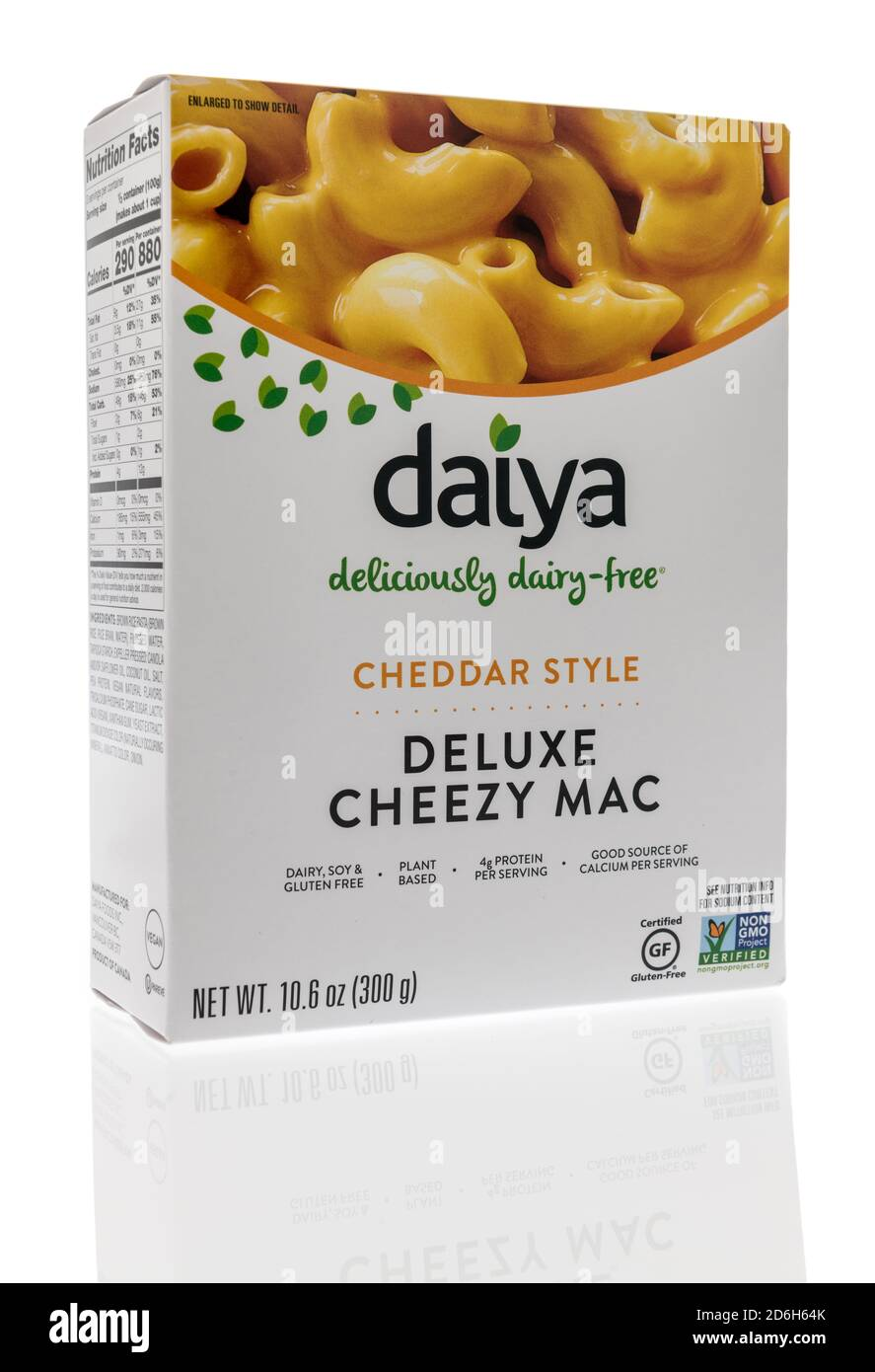 Winneconne, WI - 16 October 2020:  A package of Daiya macaroni and cheese on an isolated background. Stock Photo