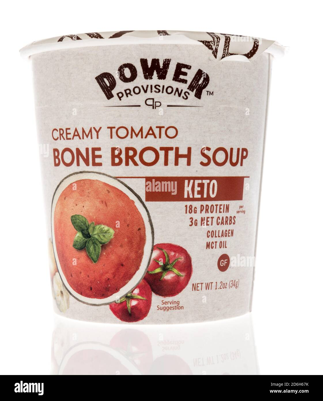 Winneconne, WI - 16 October 2020:  A package of Power provisions creamy tomato bone broth soup on an isolated background. Stock Photo