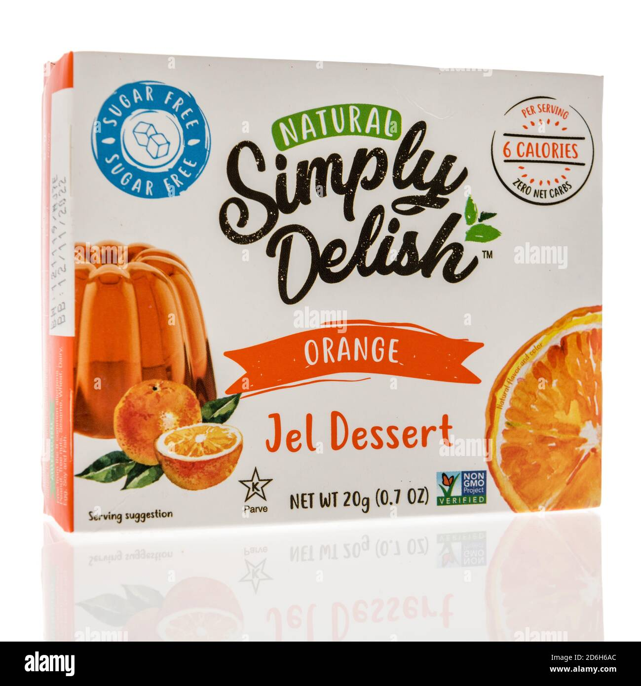 Winneconne, WI - 16 October 2020:  A package of Simply delsih jel dessert on an isolated background. Stock Photo