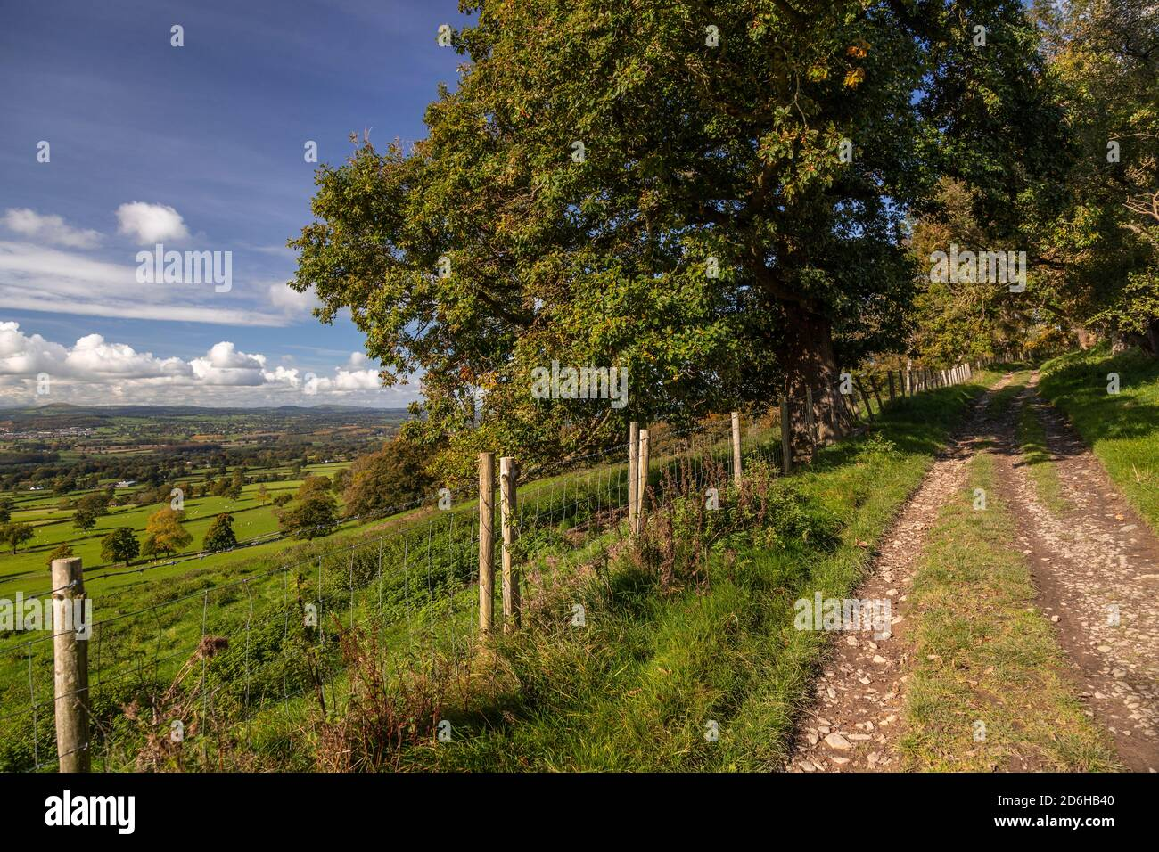 View overlooking the Vale of Clwyd from the Clwydian Range, North Wales Stock Photo