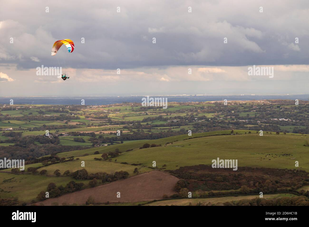 Paraglider over the Clwydian Range, North Wales Stock Photo