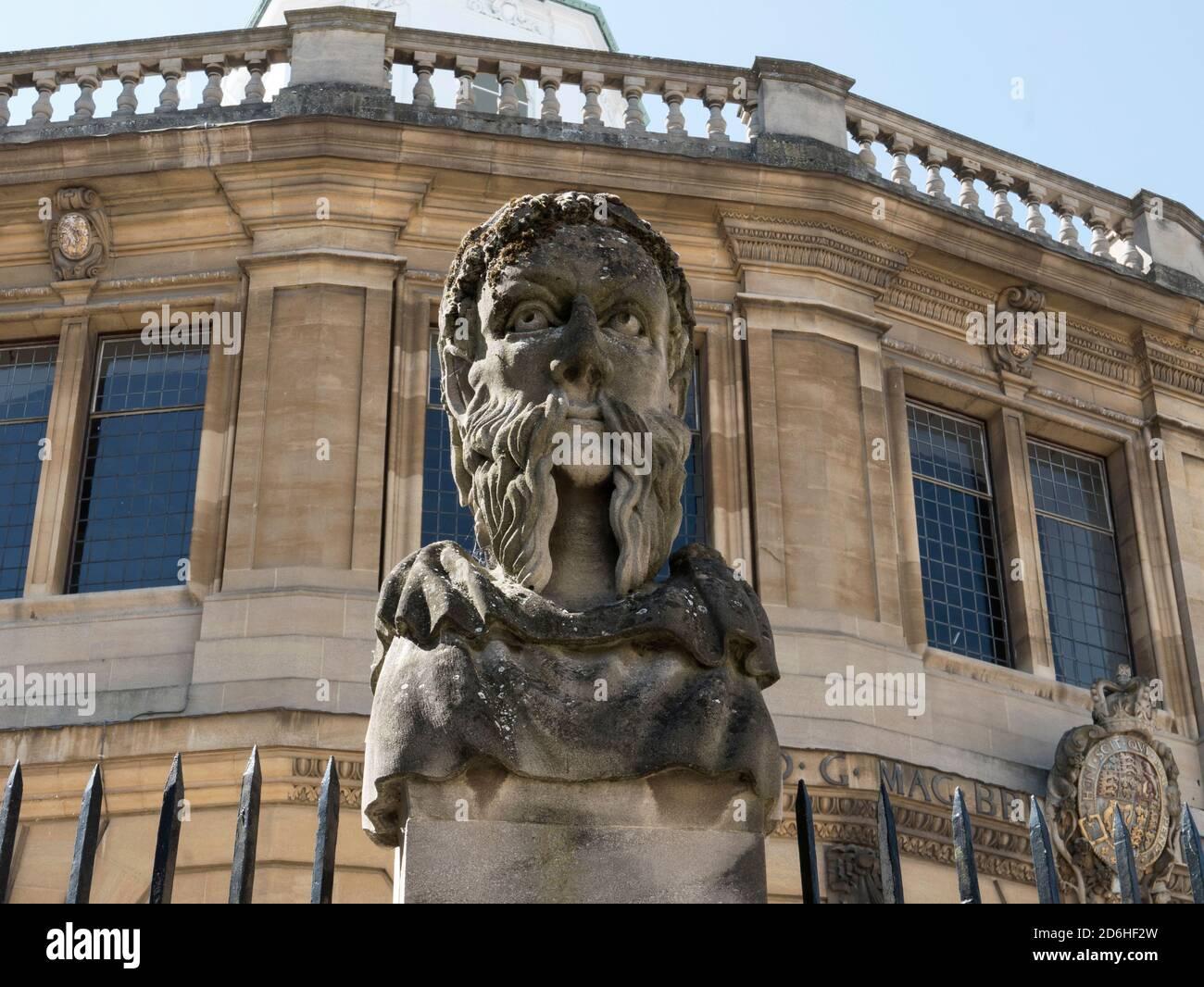 Emperor's Head outside Sheldonian Theatre , Oxford Stock Photo