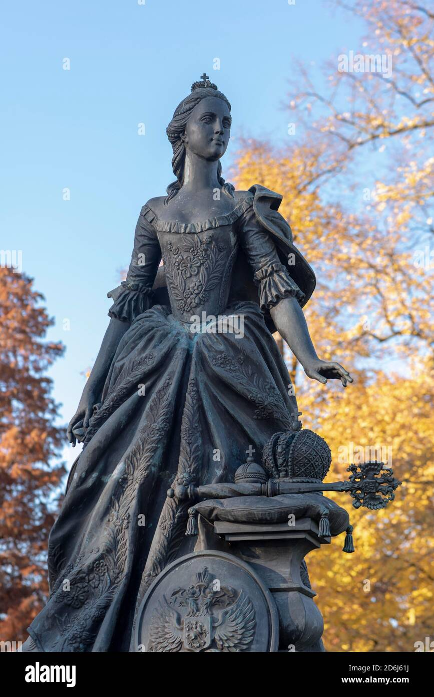 Monument to Friederike Auguste Sophie, Saxony-Anhalt, Princess of Anhalt-Zerbst, sister-in-law of Czarina Catherine II of Russia, Zerbst, Germany Stock Photo