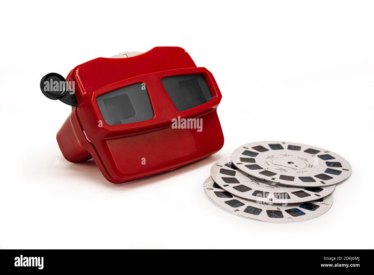 Red vintage 3D slide viewer isolated on white background. Retro style 3d slider Stock Photo