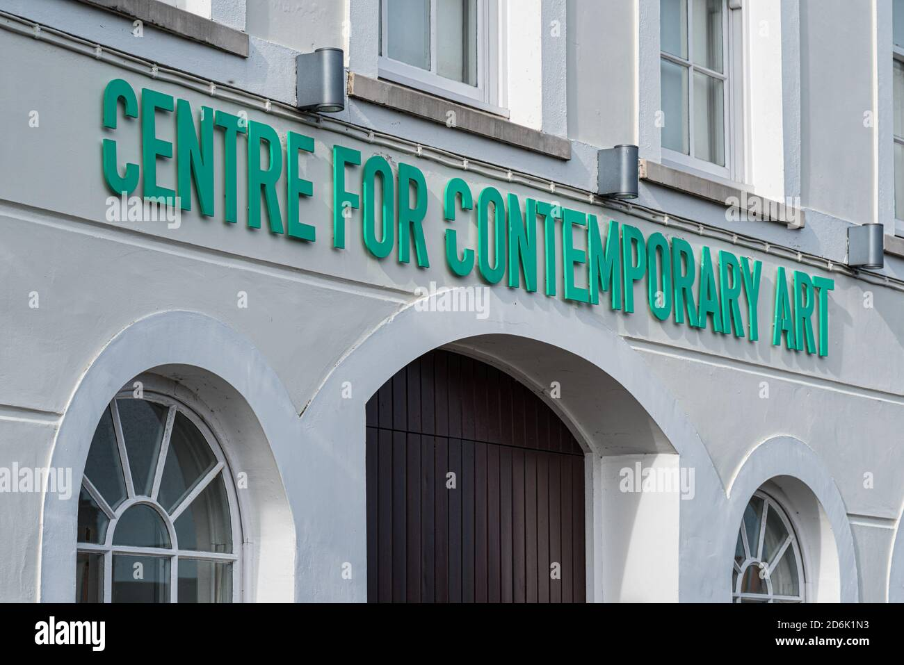 Derry, Northern Ireland- Sept 27, 2020: The sign for Centre for Contemporary Art or CCA in Derry. Stock Photo