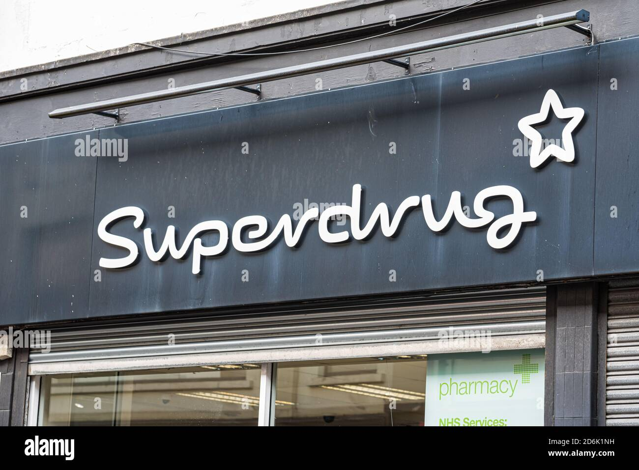 Derry, Northern Ireland- Sept 27, 2020: The sign for Superdrug in Derry. Stock Photo