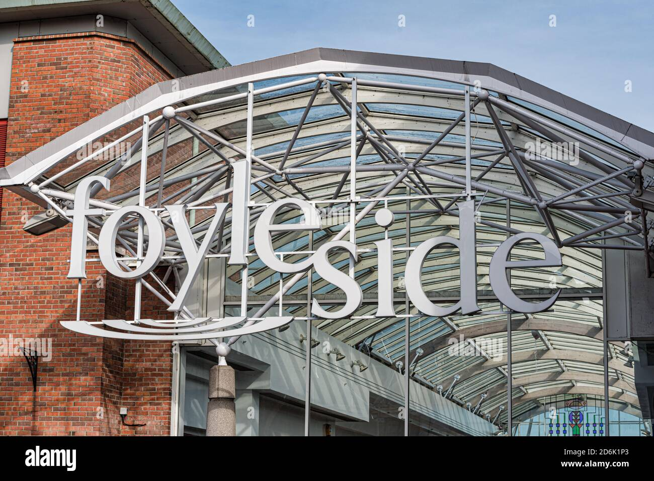 Derry, Northern Ireland- Sept 27, 2020: The Entrance to Foylside shopping centre in Derry. Stock Photo