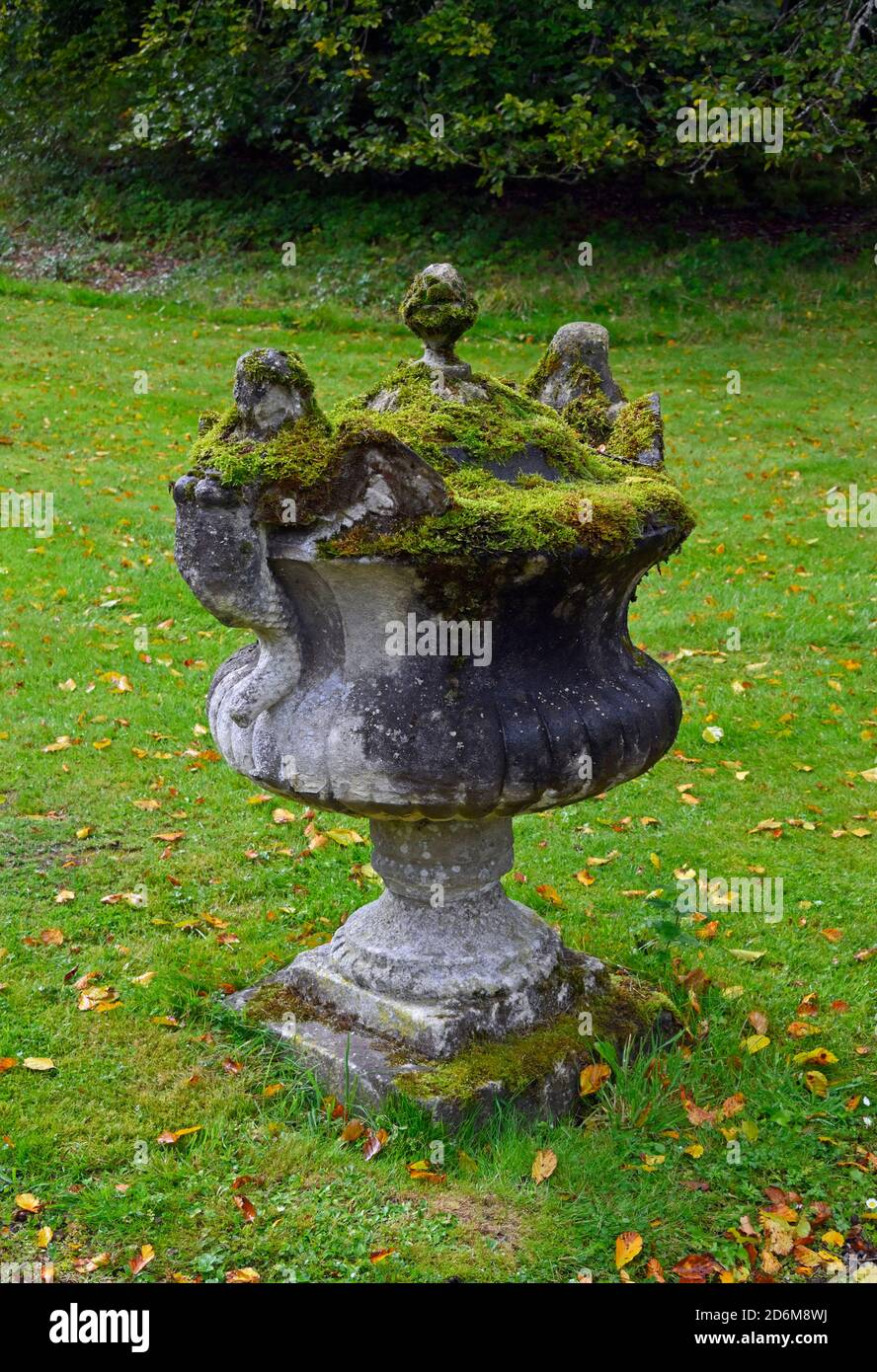 Ornamental stone urn with moss. Hopetoun House and Gardens, South Queensferry, Scotland, United Kingdom, Europe. Stock Photo