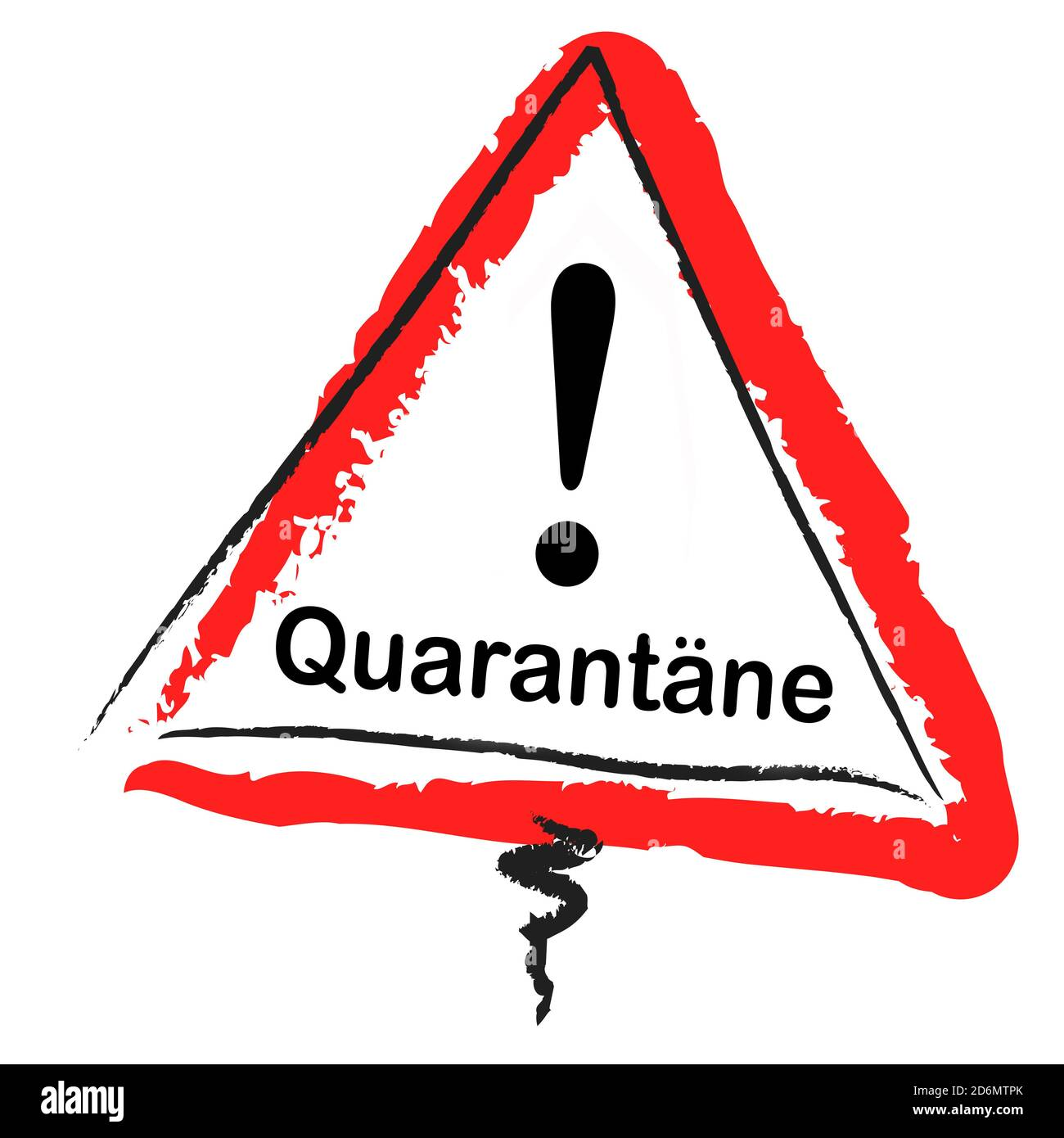 Quarantäne warning plate isolated against white background Stock Photo