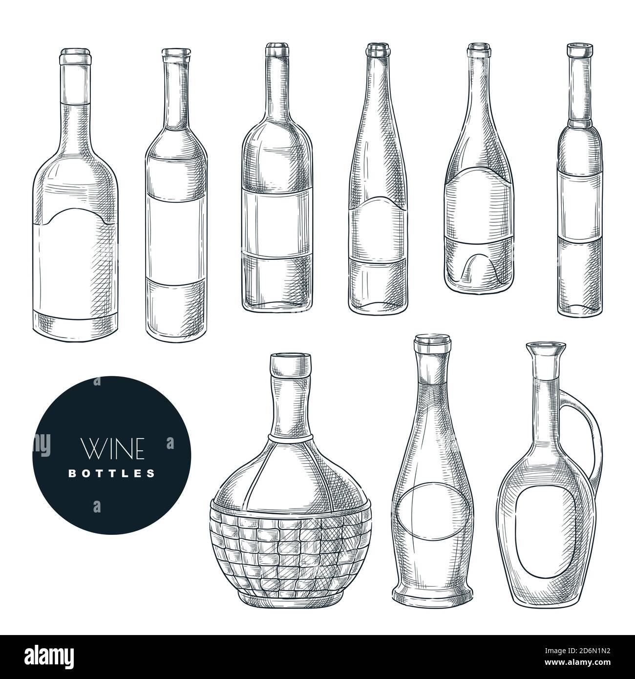 Different shapes of wine bottles. Vector sketch isolated illustration. Wine list or bar menu hand drawn design elements set. Stock Vector