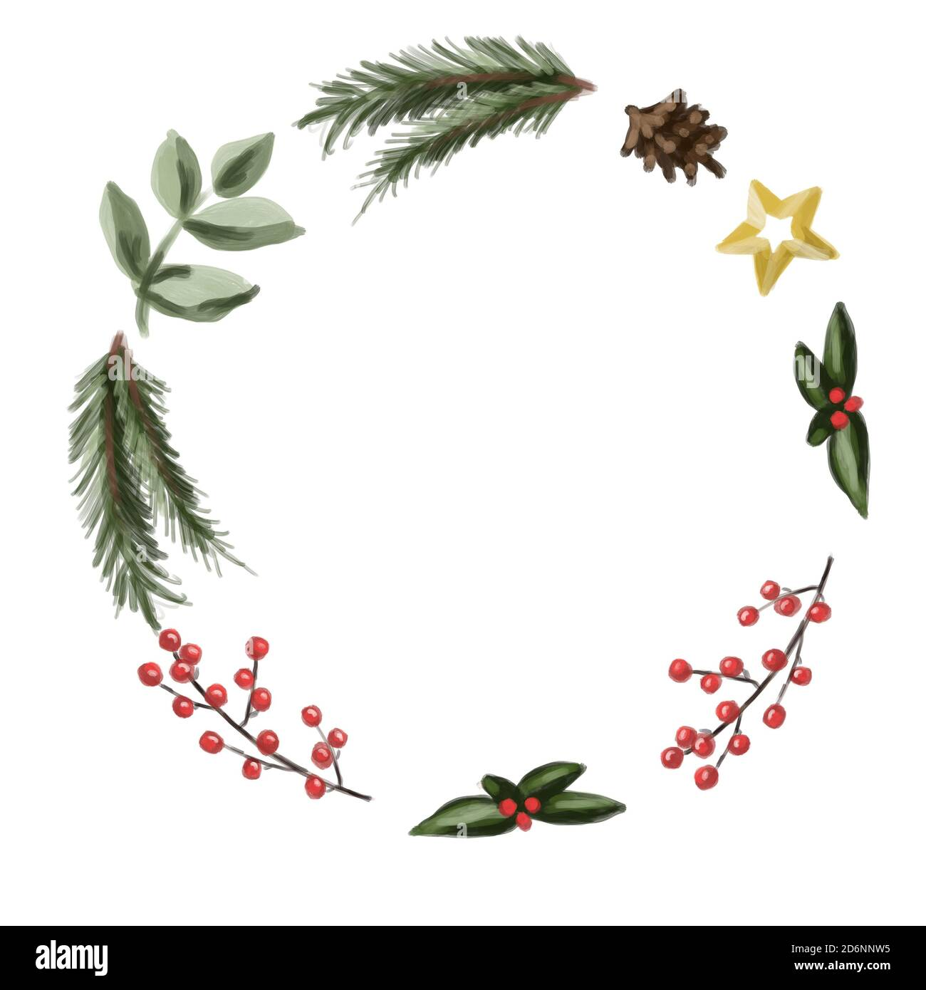 Isolated Wreath Drawing On A White Background Red Berries Christmas Tree Branch Golden Star Blank Postcard Christmas Wreath Stock Photo Alamy