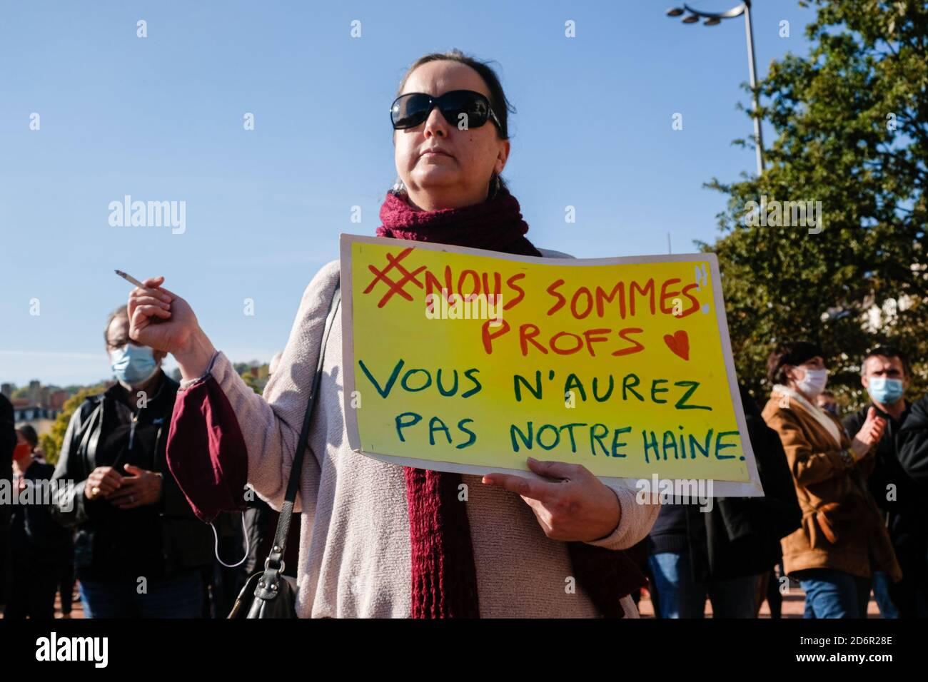 On 18/10/2020, Lyon, Auvergne-Rhône-Alpes, France. The International League Against Racism and Antisemitism (licra) called for a rally on Place Bellec Stock Photo