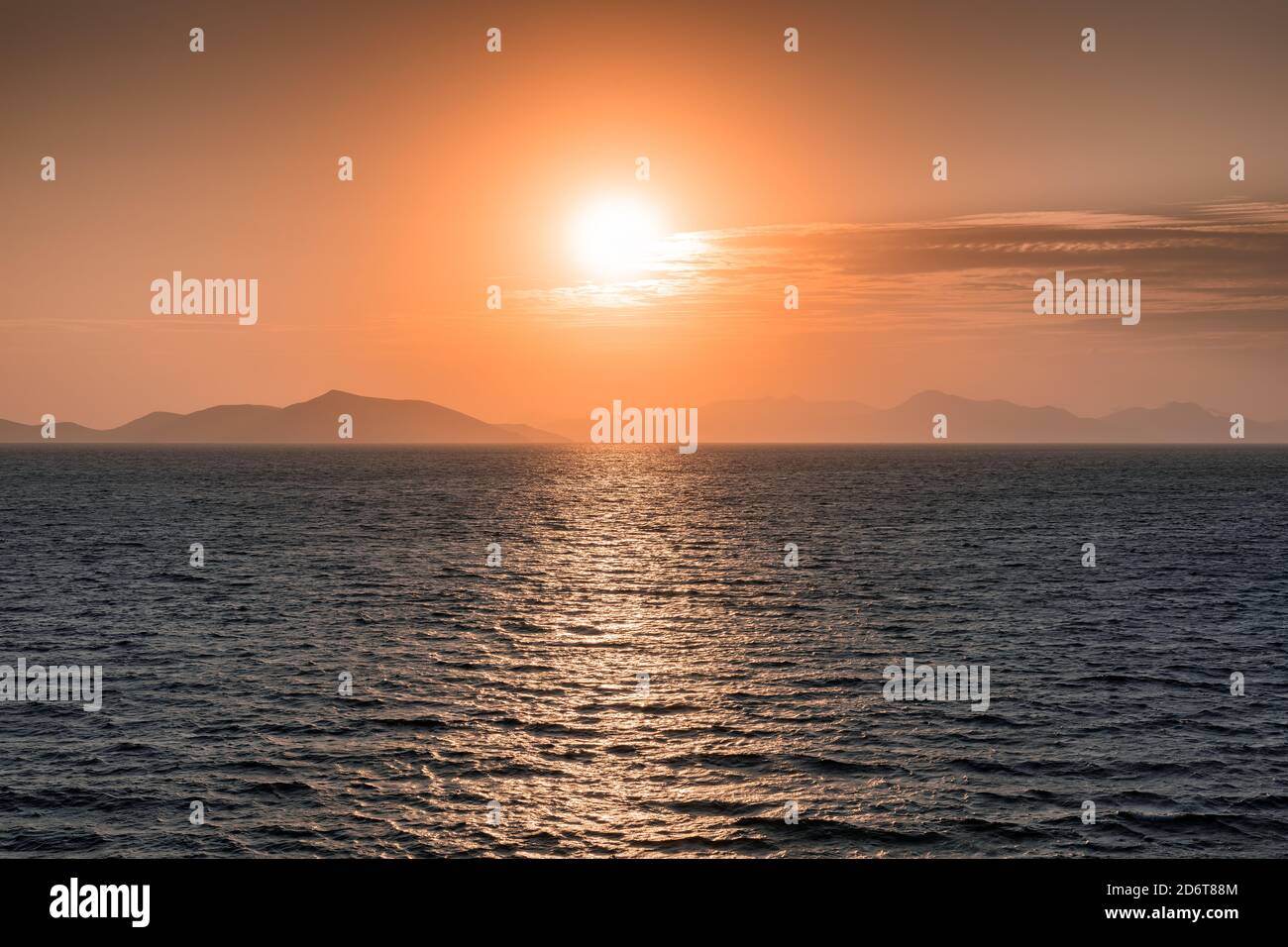 Pink Sunset over Aegean Sea Stock Photo