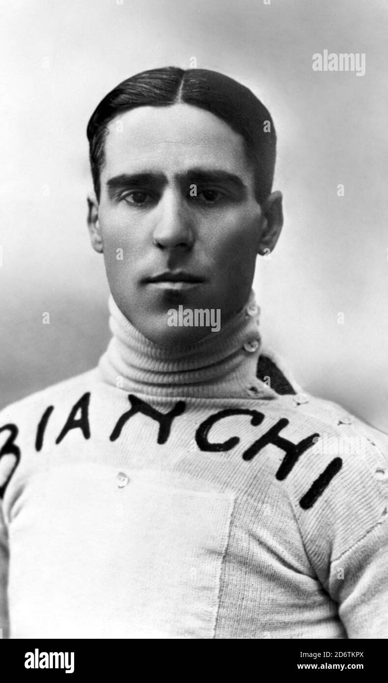 The pilot Tazio Nuvolari at the time when he raced on a motorcycle for Bianchi, 1920s. --- Il pilota Tazio Nuvolari ai tempi in cui correva in motocicletta per la Bianchi, Anni 20. Stock Photo