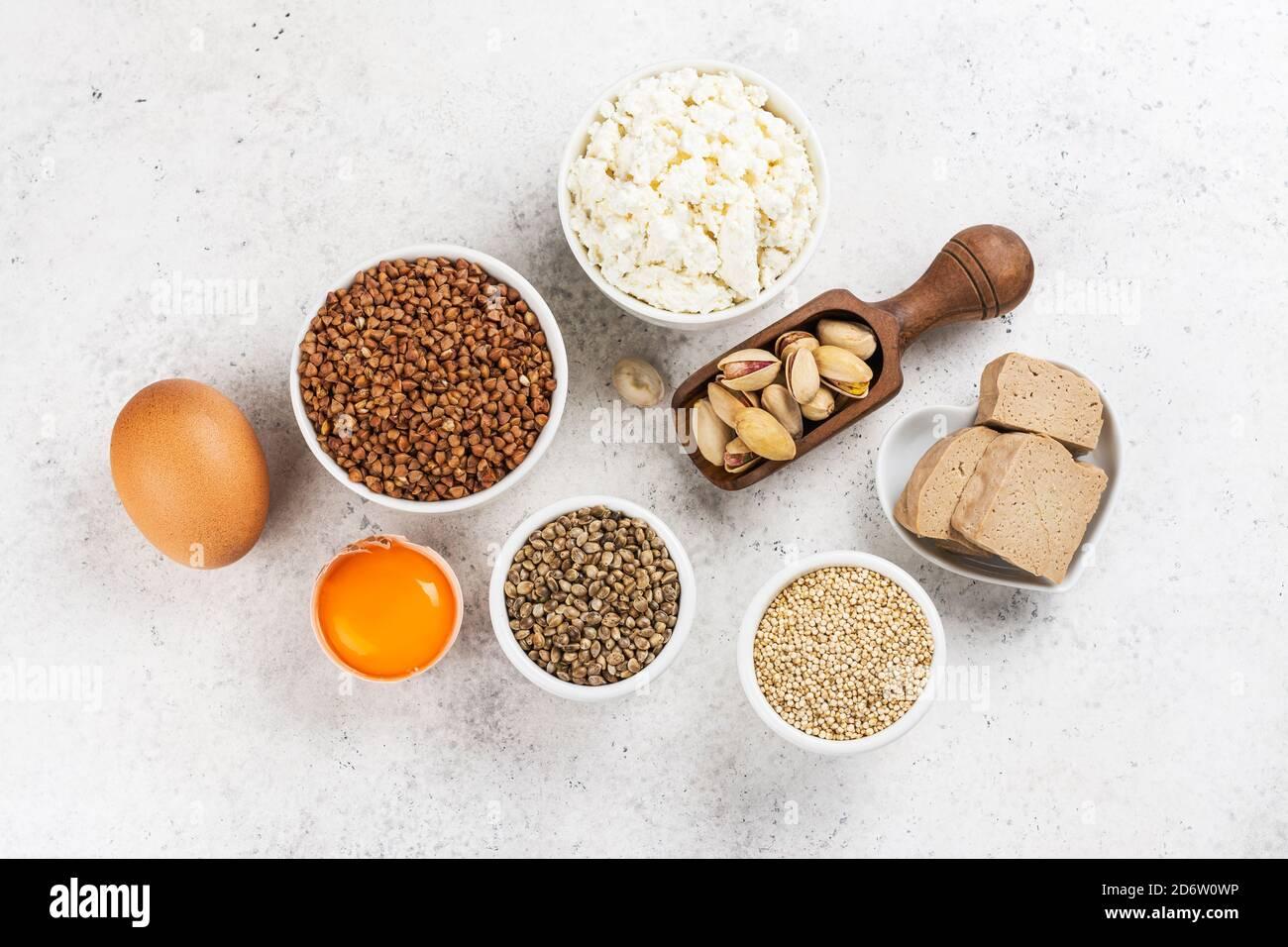 Food rich of amino acids Stock Photo