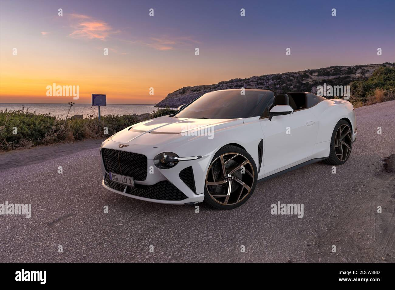 Bentley Mulliner Bacalar The New Super Exclusive Bentley Convertible On The Road At Sunset Stock Photo Alamy
