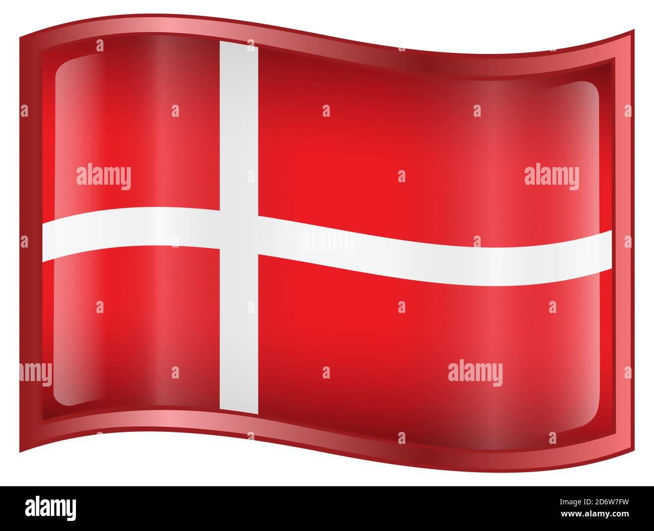 Danish Flag icon. Stock Photo