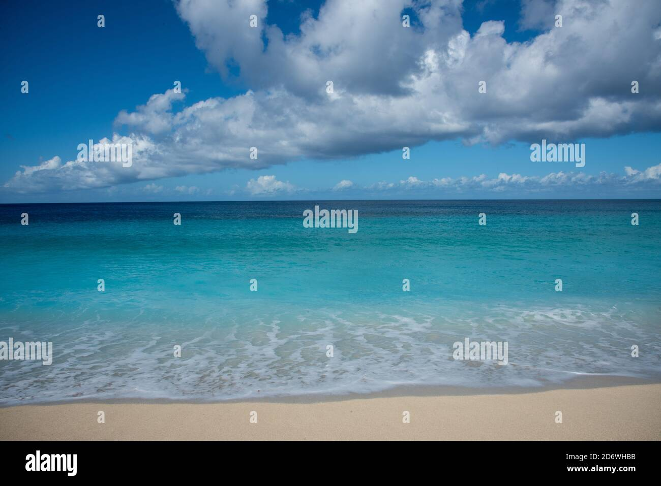 Majestic Caribbean Sea waters at Sandy Point beach area in Frederiksted on St. Croix on a sunny day in the US Virgin Islands Stock Photo