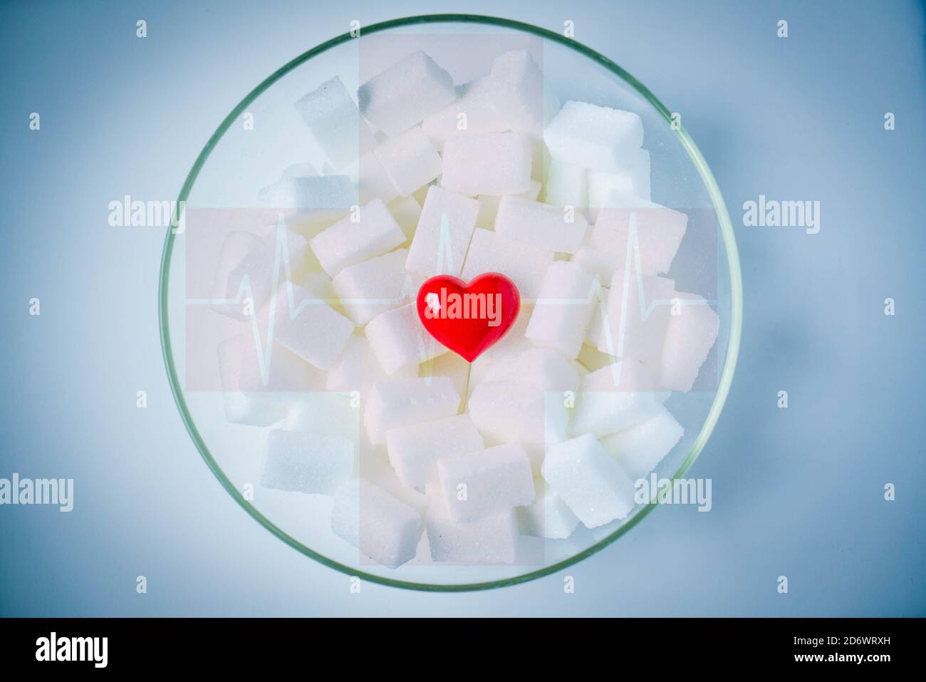 Conceptual image on sugar consumption excess. Stock Photo