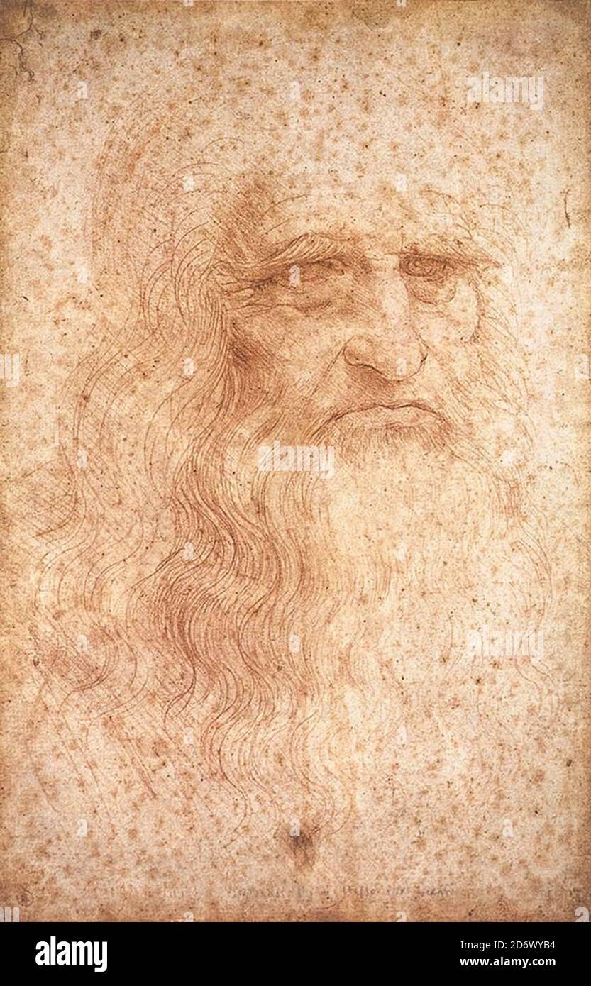 Title: Self-portrait Creator: Leonardo da Vinci  Date: circa 1512 Dimensions: 33,3 x  21,3 cm Medium: red chalk on paper Location: Royal Library of Turin Stock Photo