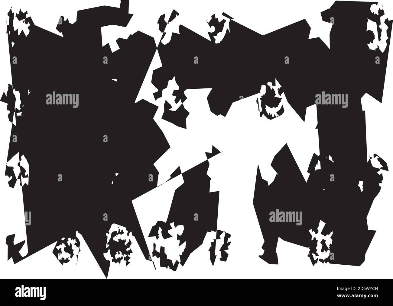 Weird, Strange generated random edgy Shapes. Asymmetric Abstract art Vector illustration. Stock Vector