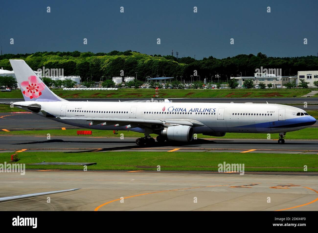 China Airlines-Taiwan, Airbus,A330-300, B-18317, Taxi, Narita Airport, Chiba, Japan Stock Photo