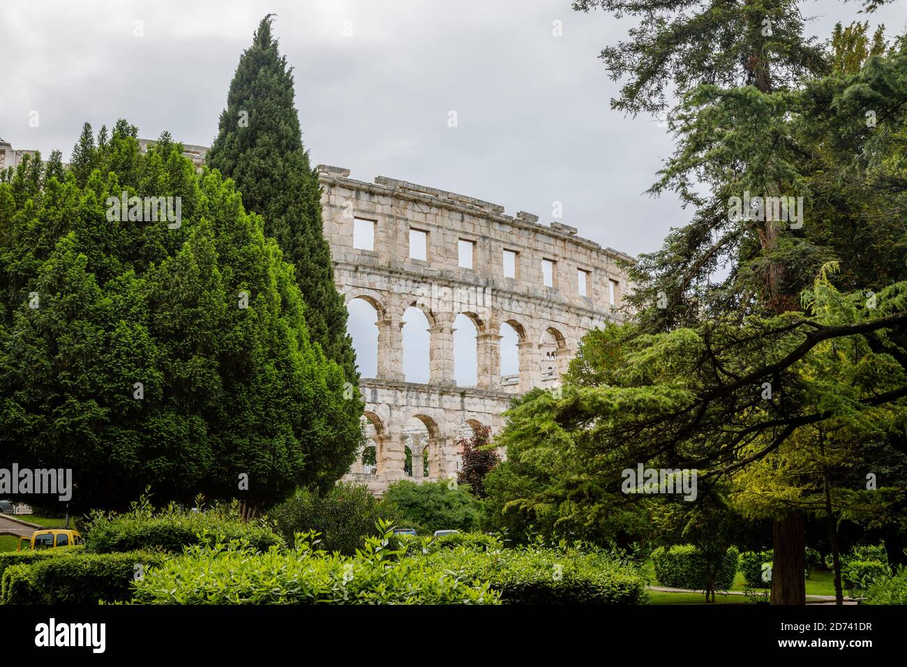 View from the exterior of the remains of the iconic ancient Roman amphitheatre at Pula, Istria, Croatia, a leading local tourist attraction Stock Photo
