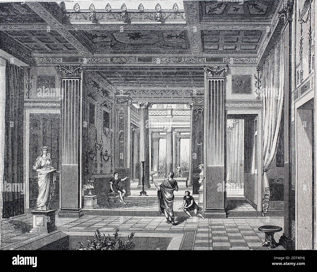 Roman house in the Middle Ages, Rome, Italy  /  Römisches Wohnhaus im Mittelalter, Rom, Italien, Historisch, historical, digital improved reproduction of an original from the 19th century / digitale Reproduktion einer Originalvorlage aus dem 19. Jahrhundert Stock Photo