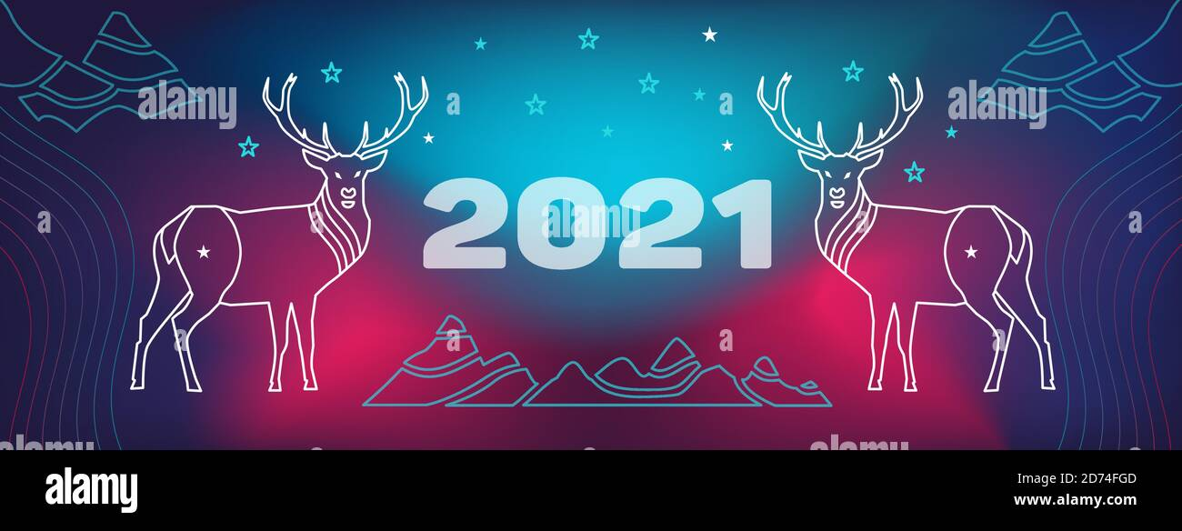 Merry Christmas And Happy New Year 2021 Fb Banner 2021 Happy New Year And Merry Christmas Facebook Site Cover With Deer Mountains Wavy Geometric Background Modern Gradient Curved Shape Stock Vector Image Art Alamy