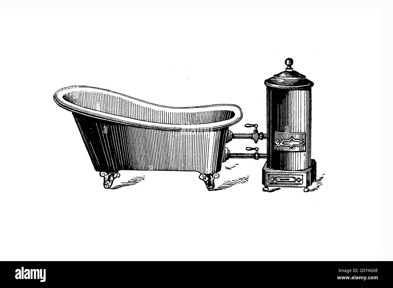 Bathtub Oven  /  Badewanne mit Ofen, Historisch, historical, digital improved reproduction of an original from the 19th century / digitale Reproduktion einer Originalvorlage aus dem 19. Jahrhundert Stock Photo